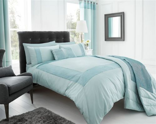 DUCK EGG BLUE STYLISH TEXTURED FAUX SILK DUVET COVER LUXURY BEAUTIFUL PINTUCK BEDDING